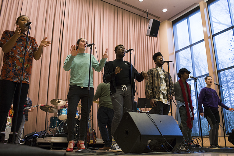The IU Soul Revue rehearses in the Neal-Marshall Black Culture Center