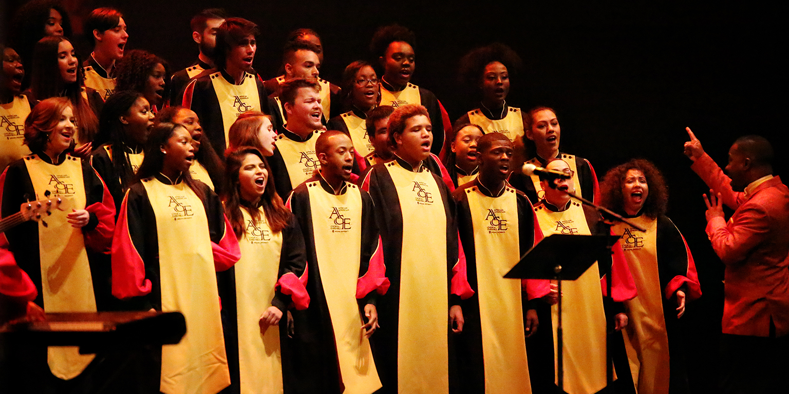 The African American Choral Ensemble performing onstage