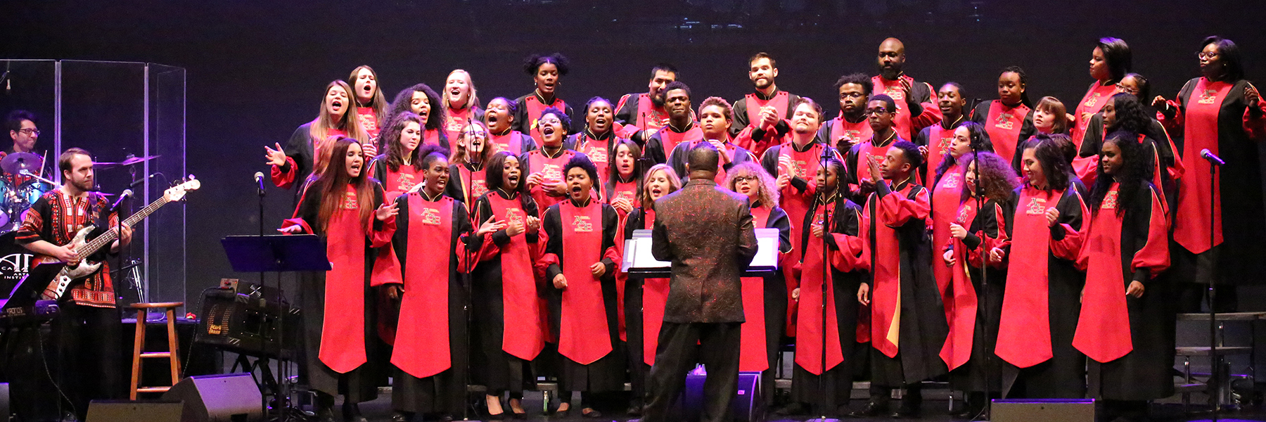 The African American Choral Ensemble performs onstage during the 2018 Spring Concert
