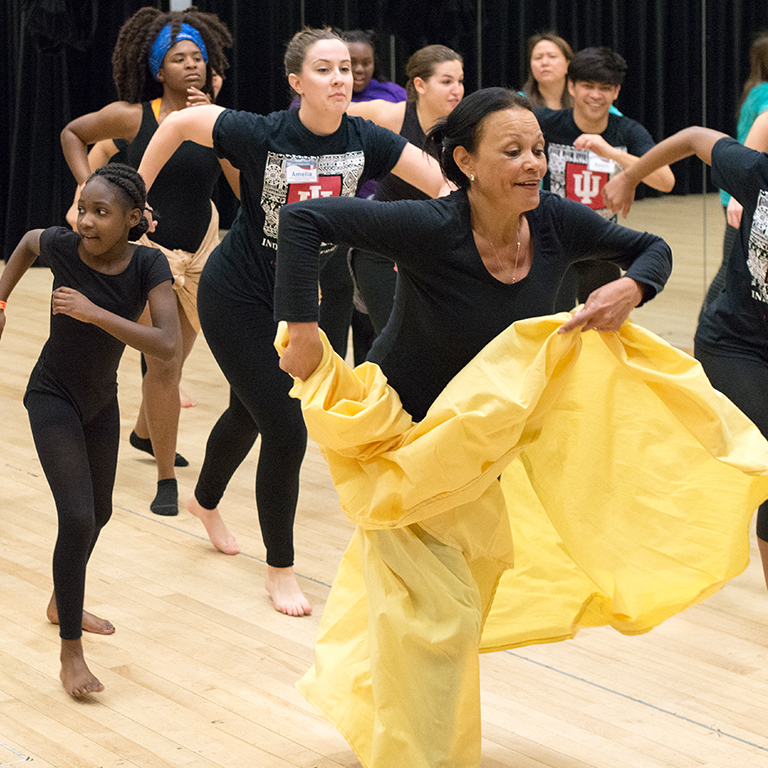 Dancers rehearsing at the 2017 African American Dance Workshop