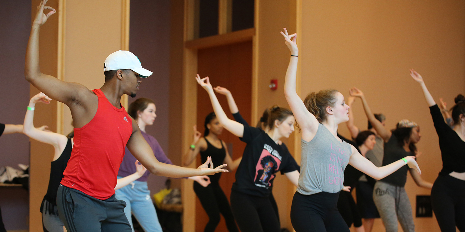 Dancers rehearsing during the 2018 African American Dance Company Workshop