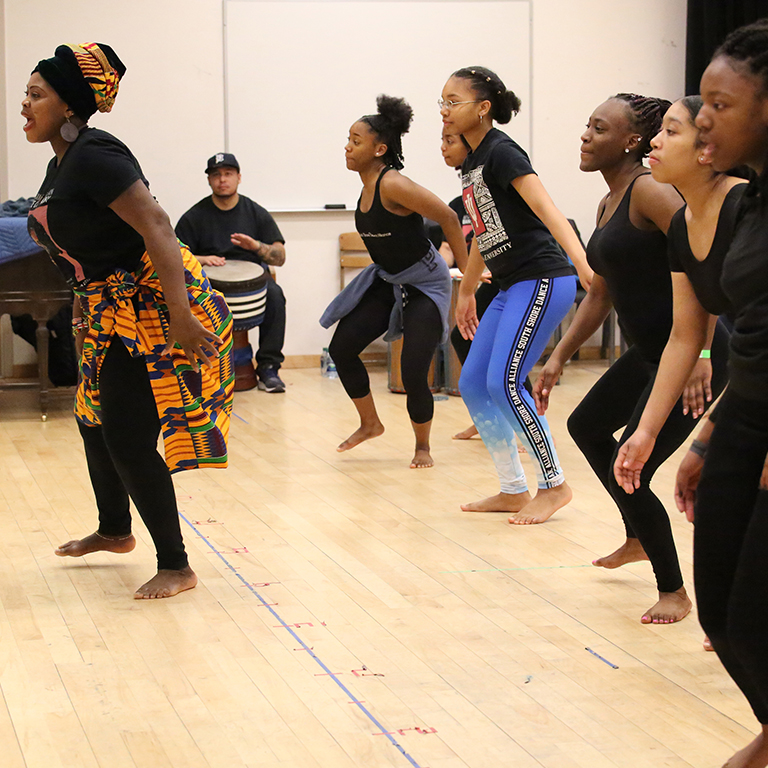 Dancers rehearsing in the studio during the 2018 African American Dance Workshop